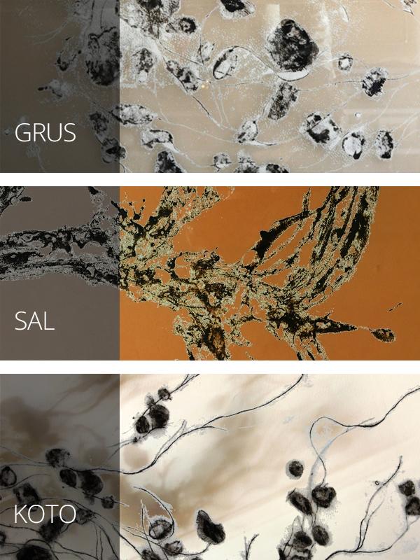 Ejemplos de cristal estampado, colores