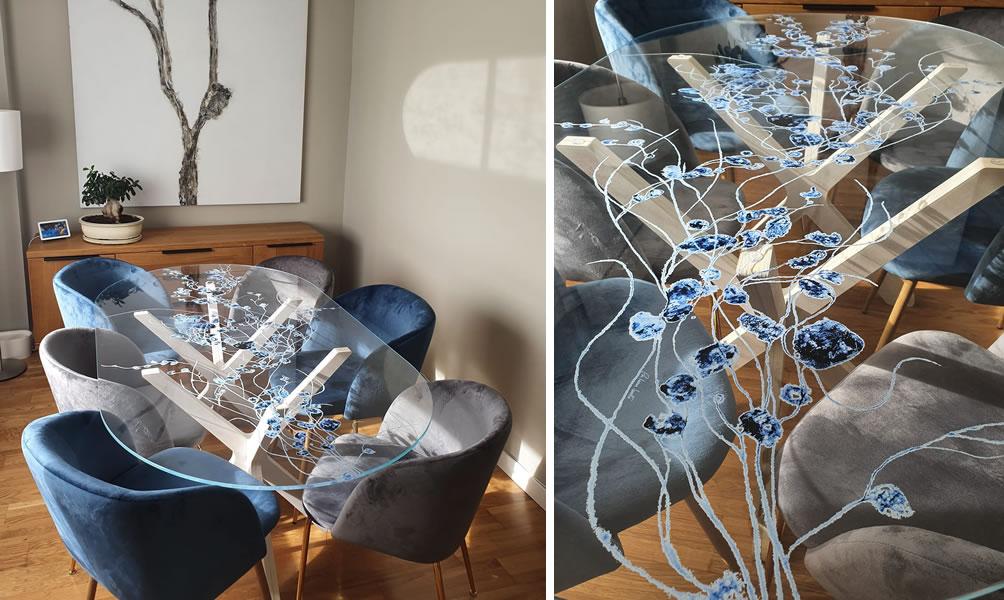 Mesa de cristal estampado